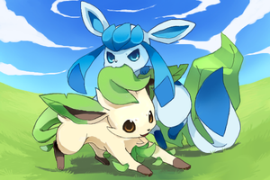 Leafeon and Glaceon by Kureculari