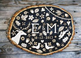 Wood-burned Monogram Plaque by Groovygirlsuzy17