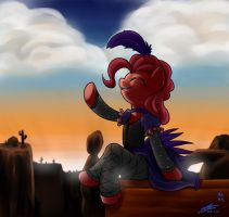 Pinkiepie with sunset by mrs1989