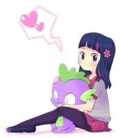 Twilight Sparkle and Spike by framboosi