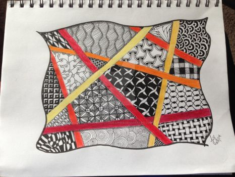 Zentangle with Warm Stripes by TangledPhotographer