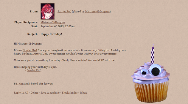 Scarlet Wishes Me A Happy Birthday by Mistress-0f-Dragons