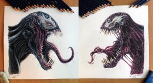 Venom / Carnage Color pencil Drawing by AtomiccircuS