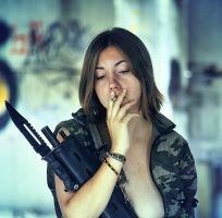 Gun and cigarette #2 by ohlopkov