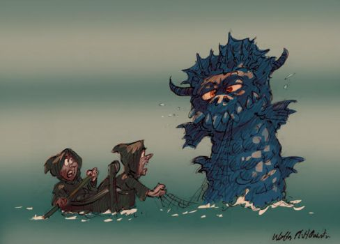 Medieval Sea Monster And Monks by WalterPQ