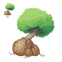 Pixel tree on rocks that look like eggs but aren't by demik109