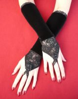 Black Velvet Gloves with Roses by Estylissimo