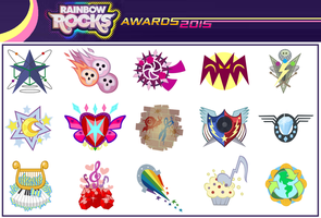 Rainbow Rocks Awards Band insignias by Karalovely