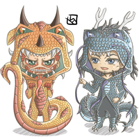 Snk Dragon Chibi - Colossal Titan and Kenny by mewTalina