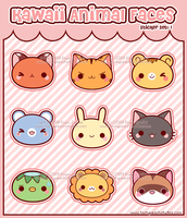 Kawaii Animal Face Stickers by MoogleGurl