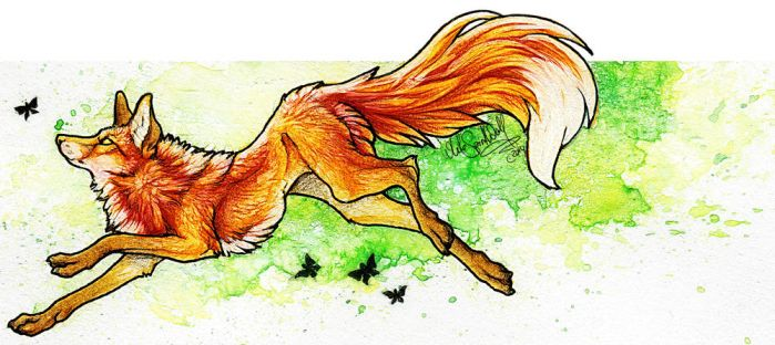 .: Redfox . Butterfly :. by WhiteSpiritWolf