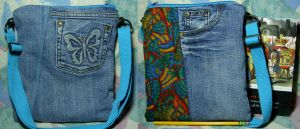 Rainbow Butterfly Wings Blue-Jeans Bag by SmilingMoonCreations