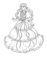 Aurora as Lady Lovelylocks - Lineart by Paola-Tosca