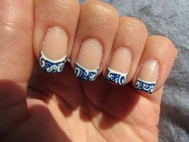 Blue Lace Nails by QueenAliceOfAwesome
