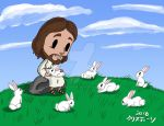Jesus with Easter Rabbits by Madame-Kikue