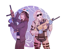 Clover and Artemis by vampiriism
