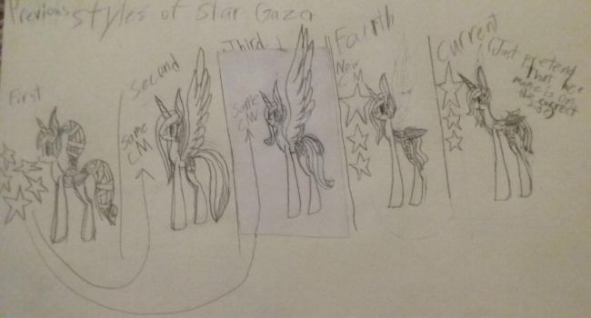 Star Gazer's Previous and Current Designs by Pegasusgirl124
