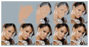 Rihanna Painting Stages by kyle-lambert
