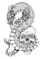 Chinese Dragon And Skull by tjiggotjurring