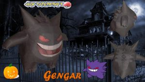 gengar papercraft  special model halloween by javierini