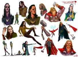 Thor and Loki Sketch Dump by JamesBousema