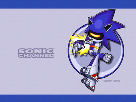 S.C. Mecha Sonic Wallpaper by E-122-Psi