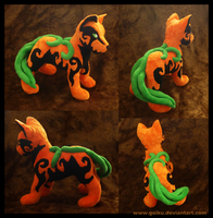 Halloween plush 2012: Pumpkin dog by goiku