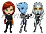 Mass Effect Chibis: Femme Fatales by Red-Flare