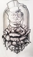 Dressed Cat Neotraditional tattoo Design by Fabian-Alvarez-Sosa
