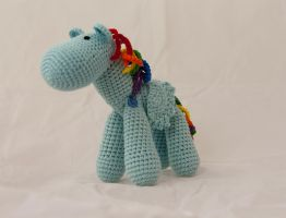 Little Blue Pegasus with Rainbow Hair by karenscrochetcorner