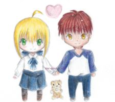 Chibi Saber and Shirou by luinelle