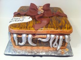 Steampunk Tentical Giftbox Cake by Corpse-Queen