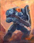 Terran Marine (oil painting) by fenrysk-art