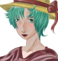 girl in a straw hat by niu-chan