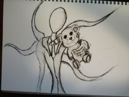 Slender man with Teddy by mortmanga
