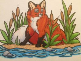 fox by the pond by iwuvrubberduckies