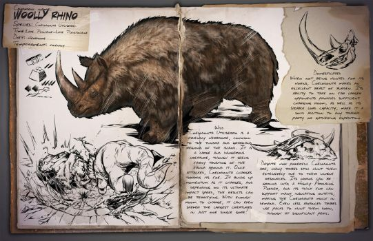 Ark: Survival Evolved Dossiers: Woolly Rhinoceros by Dinosuarjosh