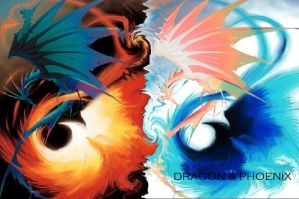 dragon and phoenix by moksha---