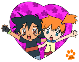 Ash and Misty heart by Kat-Skittychu