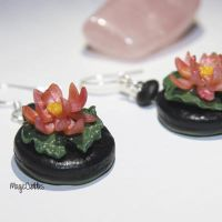 Polymer clay lotus earrings by MagicCuddles