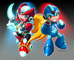 Mega Man X + Zero by ghostfire