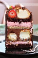 Chocolate, strawberry mousse and cream puffs cake by kupenska