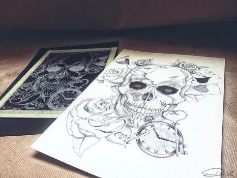Skull + glass by Dissilith