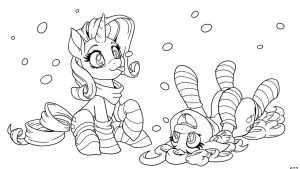 Rarity and Pinkie, It's Snowing! (inks) by LateCustomer