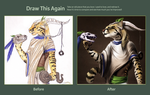 Draw this Again Challenge ~ Ocelot and Dog by ashkey