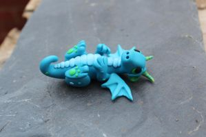Blue Polymer Clay Baby Dragon by RaLaJessR
