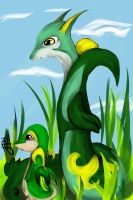 Serperior and Snivy by FreeParadiseSky