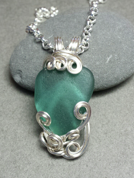 Mythos Teal Grecian Sea Glass Silver Wire Wrapped by sojourncuriosities