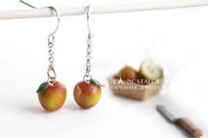 Spring Red Apple Bitten Fruit Earrings Handmade by LaNostalgie05