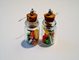 Licorice / Candy Jar Earrings by MarzapanArt